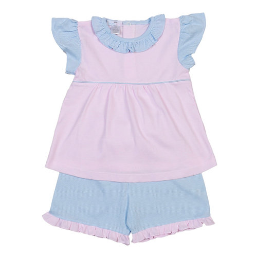 Baby Bliss Pima Pink and Blue Stripe Short Set