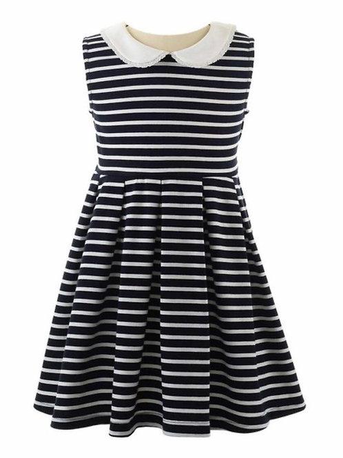 Rachel Riley Navy Breton Striped Dress