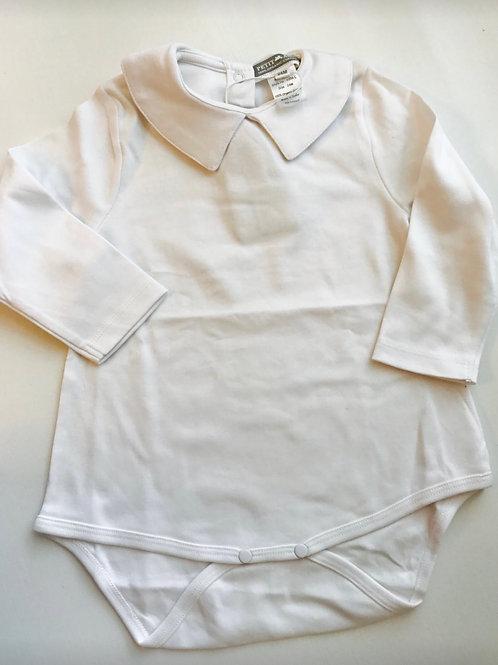 Petit Ami Long-Sleeve Knit White Shirt/Onesie