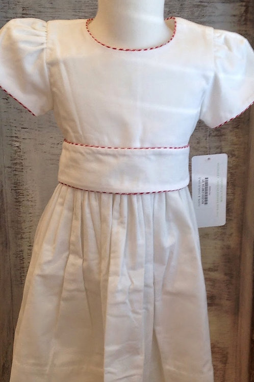 Claire & Charlie Sash Dress-White Corduroy with Red Gingham Trim
