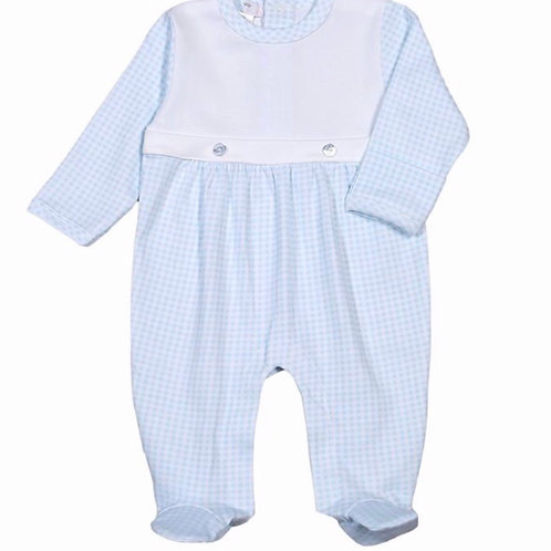 Baby Bliss Blue Gingham Pima Two-Button Footie