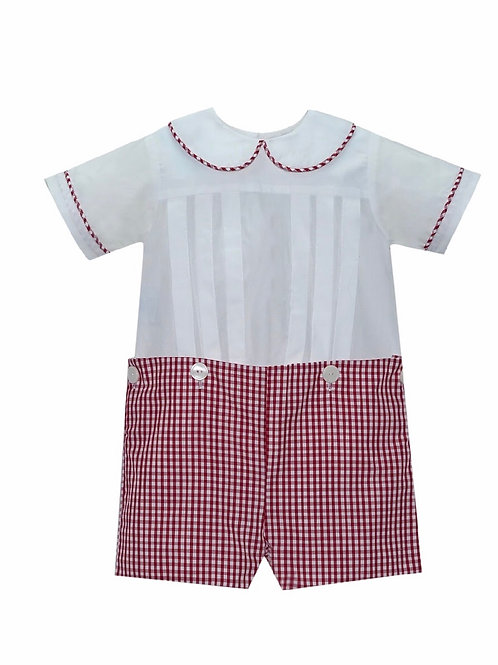 Lullaby Set Red and White Gingham Button-On Shortall