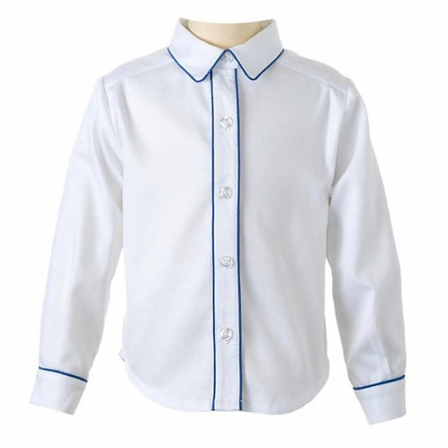 Rachel Riley Light Blue Trim Pique Shirt