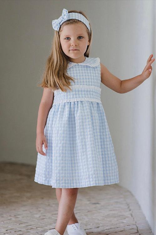 Sal & Pimenta Bluebell Gingham Band Dress 2t, 5