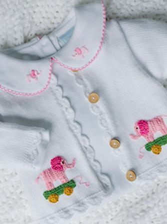 Little English Pink Elephant Crochet Sweater