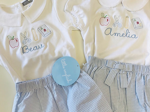 Petit Ami Girls White Knit Peter Pan Shirt