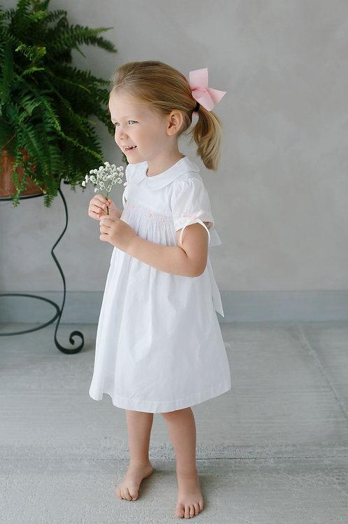 Little English White Smocked Charlotte Dress
