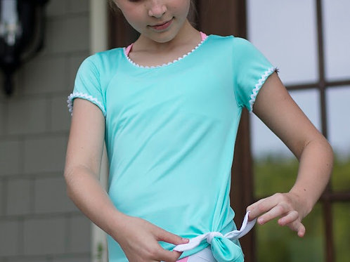 SET Athleisure Turquoise Athletic Tee with Ric Rac