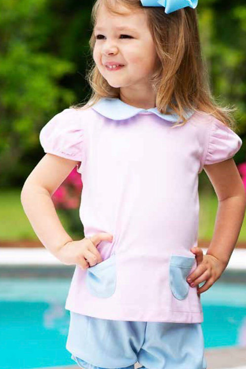 Lullaby Set Pink/Blue Knit Penelope Bloomer Set