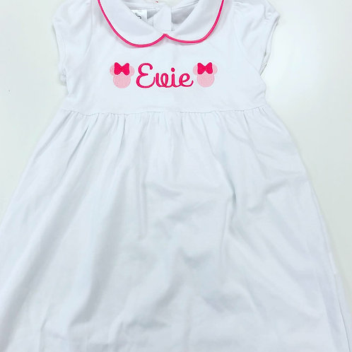 Twirly Pima Dress with Bloomers-White with Hot Pink 9 mo, 5