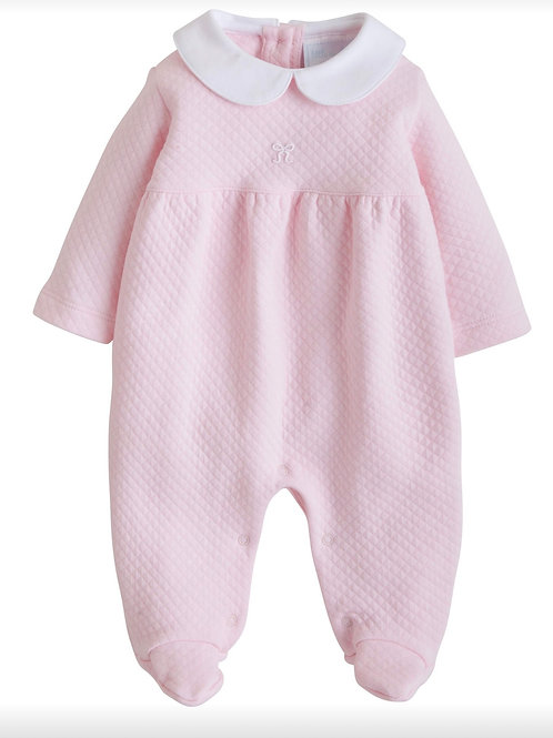 Little English Bow Quilted Footie