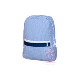 Navy Seersucker Small/Preschool Backpack by Mint