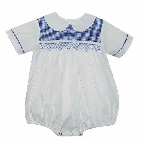 Lullaby Set White Boy Bubboe  with Royal Smocking