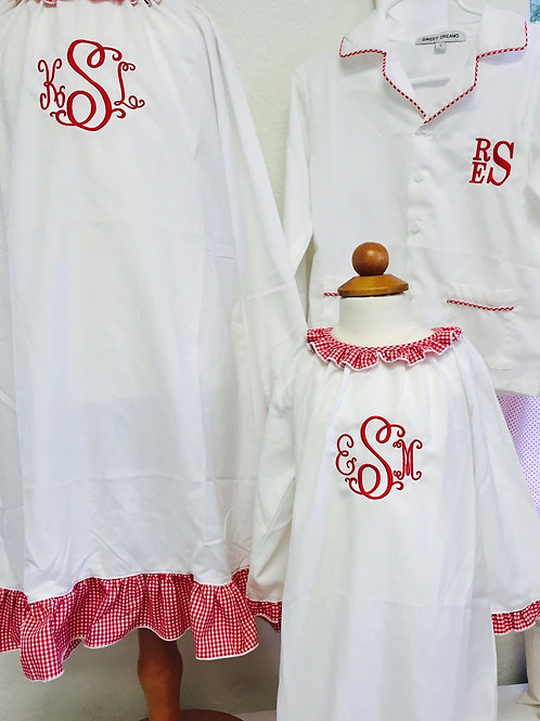 Sweet Dreams White Gown with Red Gingham Ruffle 24 mo/2t