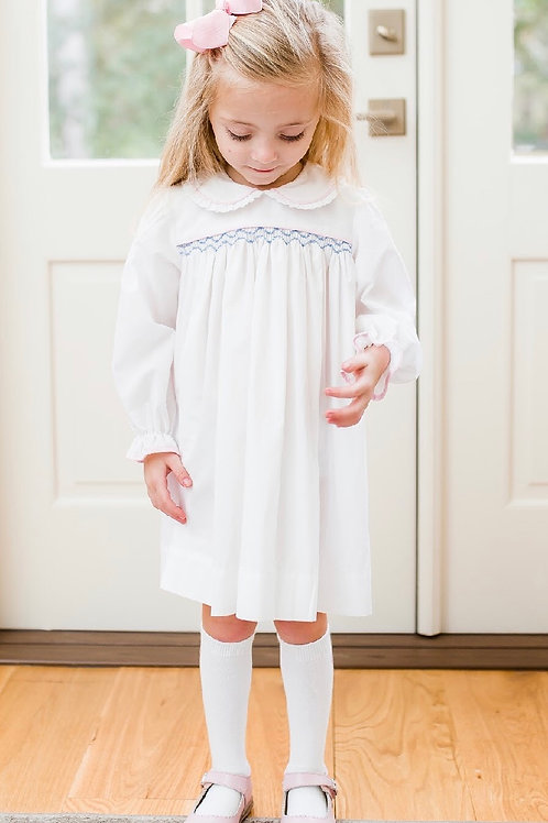 Lullaby White with Pink and Blue Smocked Dress