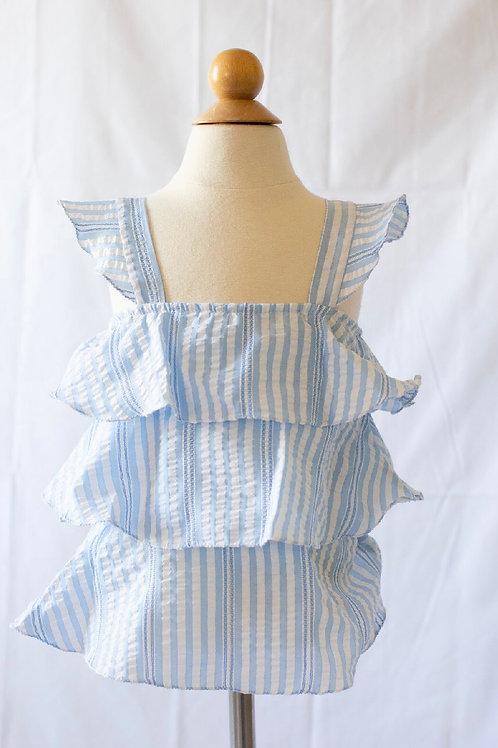 Peggy Green Blue Seersucker Stripe Maggie Top