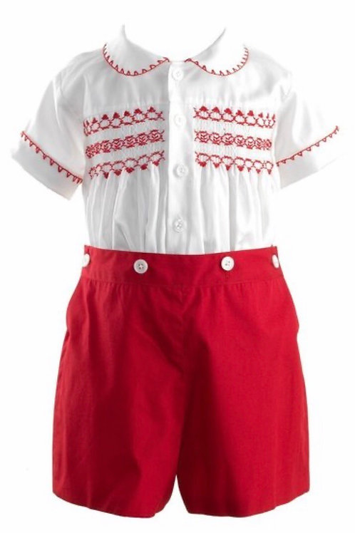 Rachel Riley Red Smocked Short Set-Heritage Collection