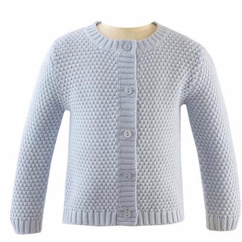 Rachel Riley Blue Moss Stitch Cardigan Sweater