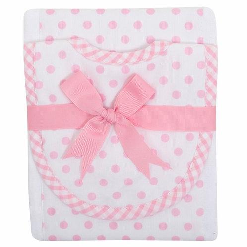 3 Marthas Pink Dot Bib/Burp Set