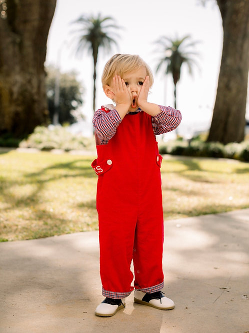 Lullaby Set Plaid Lined Red Cord Longall