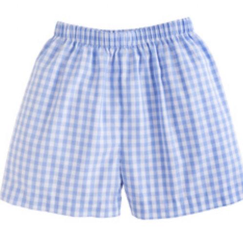 Little English Cornflower Blue Gingham Shorts 4t