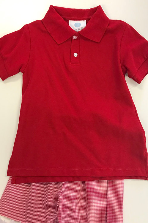 Lullaby Set Red Gingham Polo Short Set 4t, 5