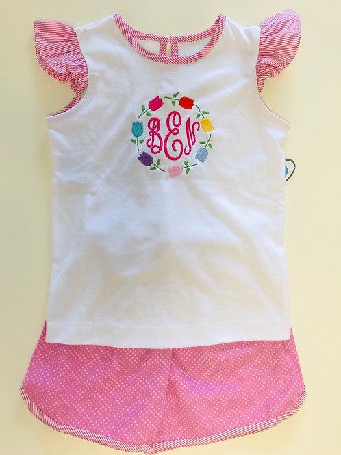 Lullaby Set Angels Sleeve Knit Shirt-Pink Seersucker 2t