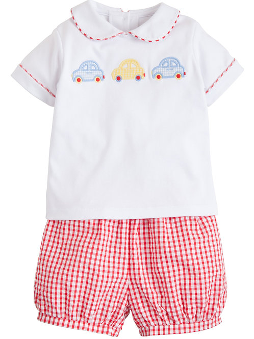 Little English Car Applique Peter Pan Short Set