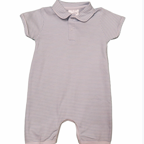Bambinos Light Blue Stripe Pima Romper