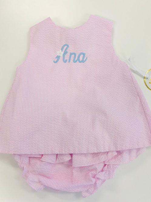 Petit Ami Pink Seersucker Swing Set 3, 24 mo