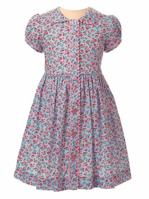 Rachel Riley Blue/Pink Floral Button-Front Dress