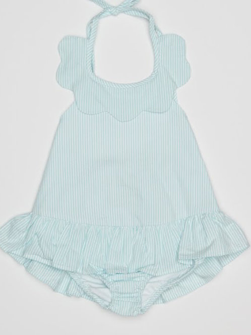 Little English Aqua Seersucker Scallopped Swimsuit