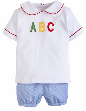 Little English ABC Applique Short Set