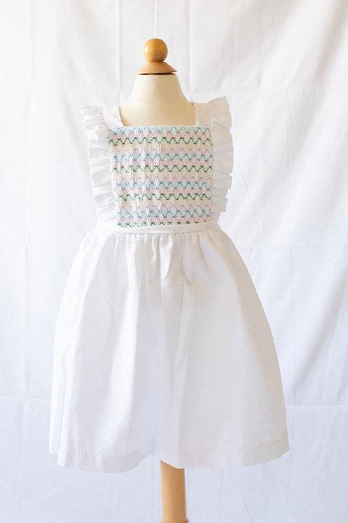 Peggy Green Pique Smocked Edith Dress