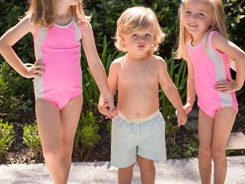 Lullaby Set Mint and Yellow Swim Trunks 3t