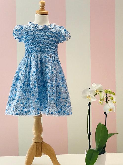 Rachel Riley Blue Smocked Floral Dress