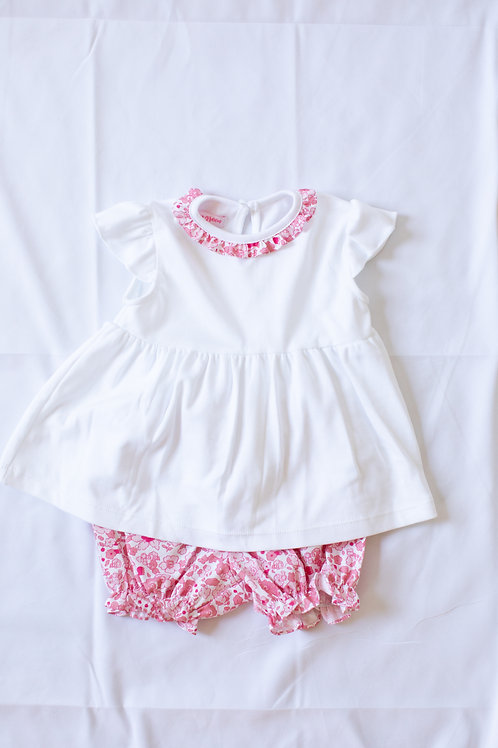 Peggy Green Libba Floral Ruffle Knit Bloomer Set with White Top