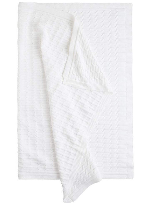 Little English White Cable Knit Blanket