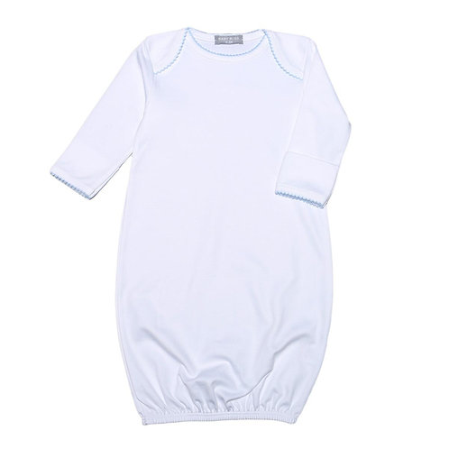 Baby Bliss Pima Gown with Blue Trim