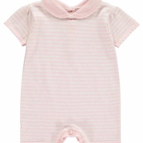 Rachel Riley Pink Striped Knit Babysuit