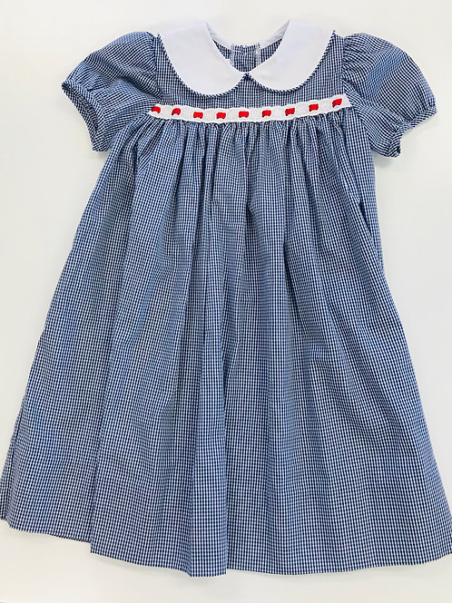 Lullaby Set Navy Gingham Dress with Eyelet/Red Ribbon Trim