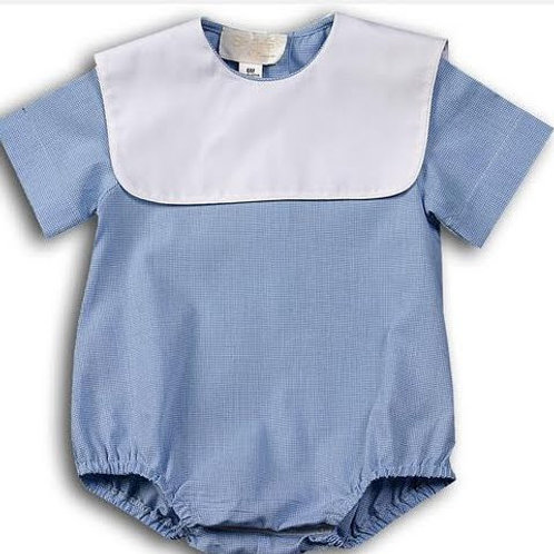 Rosalina Blue Gingham Bubble with Square Collar 3 mo
