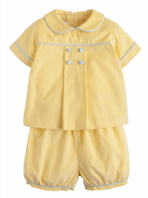 Little English Yellow Darcy Banded Short Set ,3t