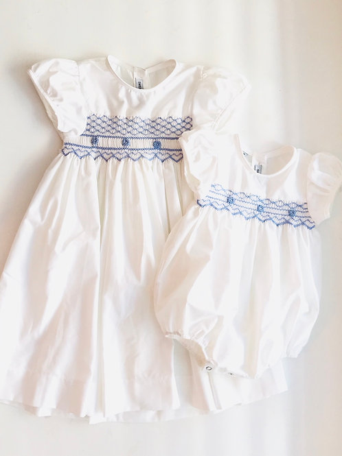 Sweet Dreams White and Blue Smocked Dress