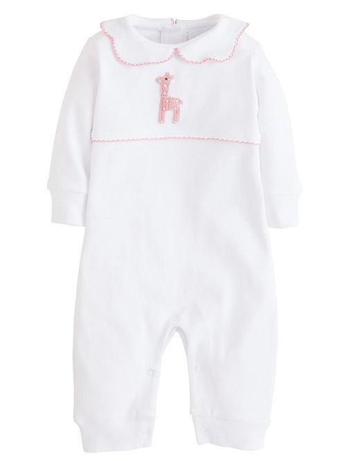 Little English Pink Giraffe Playsuit 3 mo