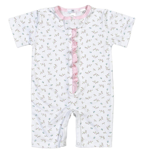 Baby Bliss Pima Pink Floral Zipper Romper 6/9 mo