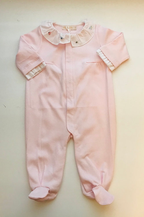 Embroidered Collar Pima Pink Footed Romper