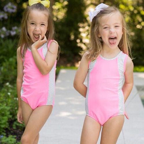 Lullaby Set Floral Trim Pink Bathing Suit