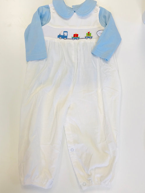 Lullaby Set Train Smocked Longall with Blue Shirt