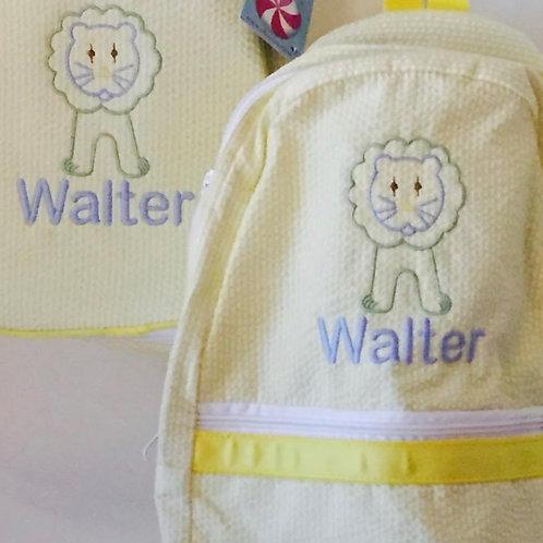 Yellow Seersucker Medium Backpack